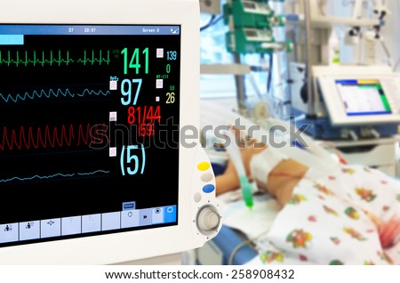 Patients monitor in neonatal intensive care unit - stock photo