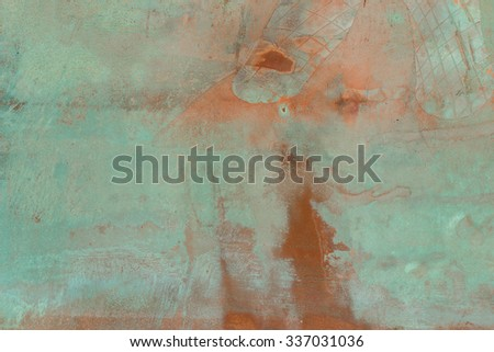 Patina copper metal background texture. Vintage effect. - stock photo