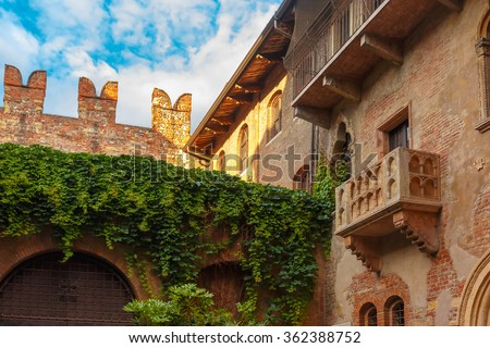 Patio and balcony of Romeo and Juliet house, Verona, Italy - stock photo