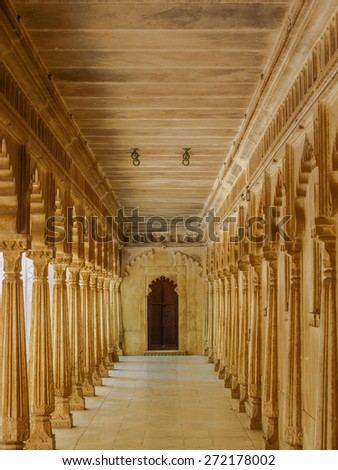 Patio at City Palace in Udaipur, Rajasthan, India - stock photo