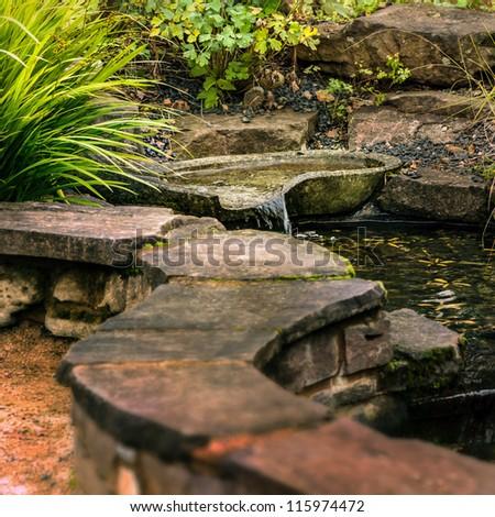 Patio Garden - Zen pond - stock photo