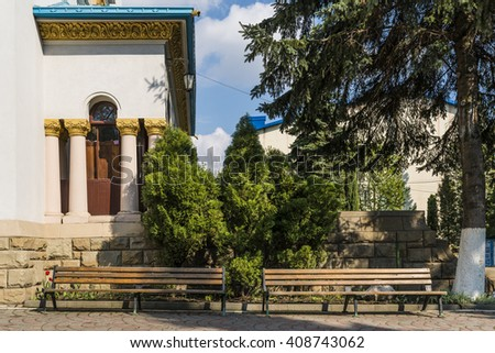 Patio in theNicholas Cathedral (Church Drunk)  built in 1939. Architecture in the old town Chernivtsi. Western Ukraine.  Chernivtsi. - stock photo