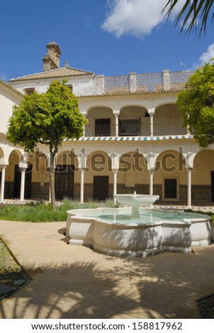 Patio of cloister convent in Seville, Andalusia, Spain - stock photo