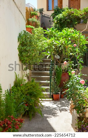 Patio with blooming potted flowers in a greek town - stock photo