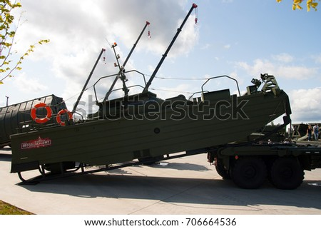 Patriot expocenter, Kubinka, Moscow Region, Russia - 26 August 2017: Exhibition of military vehicles