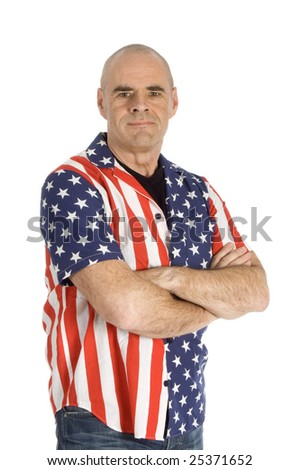 patriot man wearing a united states blouse isolated on white