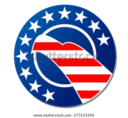 Patriotic American emblem or badge with a stars and stripes pattern of the national flag and the head of an eagle inside a circular frame to celebrate the 4th July isolated on white - stock photo