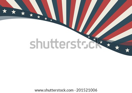 Patriotic Background. Sunbeam wallpaper with the colors of USA Flag. - stock photo