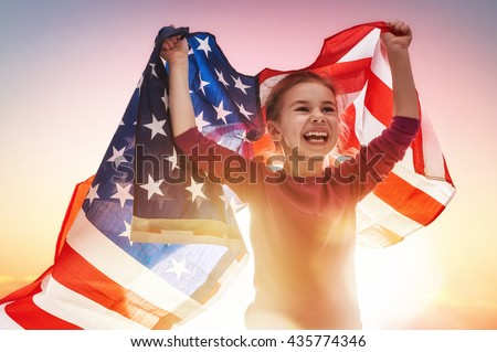 Patriotic holiday. Happy kid, cute little child girl with American flag. USA celebrate 4th of July. - stock photo