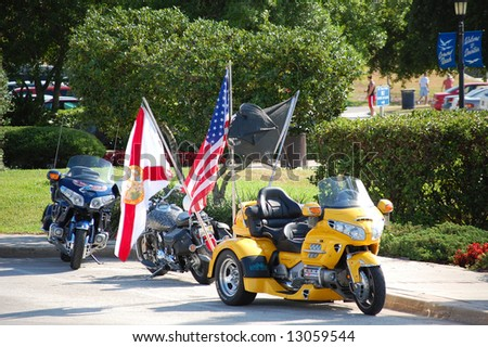 Patriotic Honda motorcycles - stock photo
