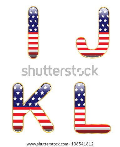 Patriotic IJKL - stock photo