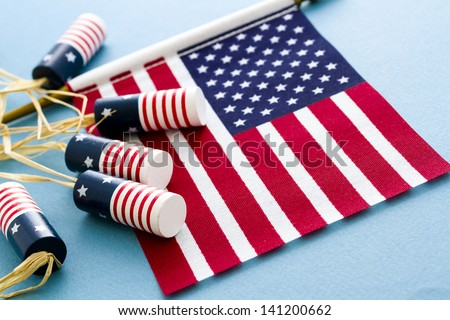 Patriotic items to celebrate July 4th. - stock photo