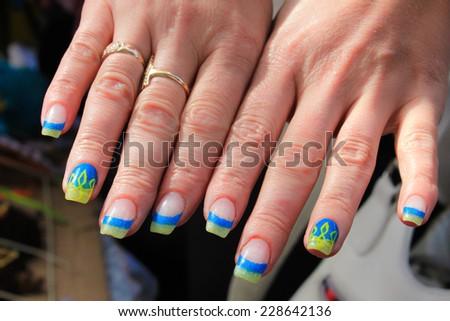 Patriotic manicure (Ukraine) - stock photo