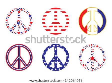 Patriotic Peace Signs - stock photo