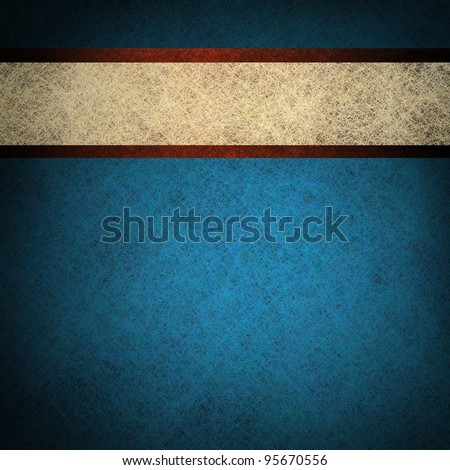patriotic red white and blue background with vintage grunge texture and white parchment ribbon stripe with blank copyspace for July 4th or independence day - stock photo