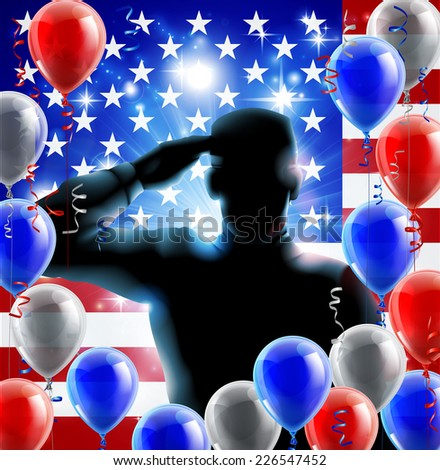 Patriotic soldier or veteran saluting in front of an American flag fourth July or independence day background with red white and blue balloons and ribbons  - stock photo