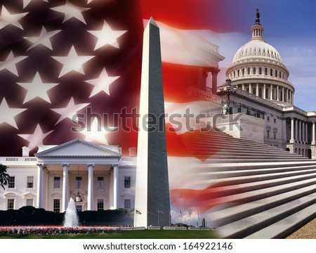 Patriotic symbols of the United States of America. The White House, Washington Monument and the Capital Building in Washington DC.