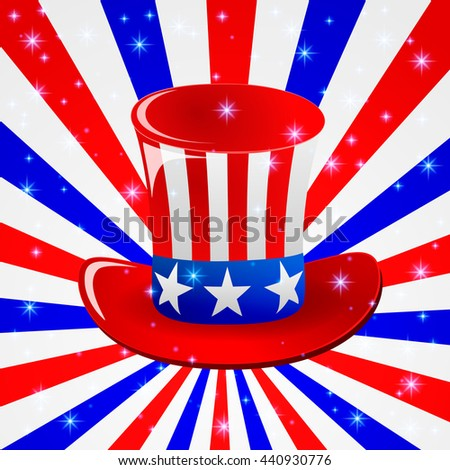Patriotic Uncle Sam hat for 4th of July public holiday card greetings. Cartoon or doodle style. American stars and stripes background in american national colours. - stock photo