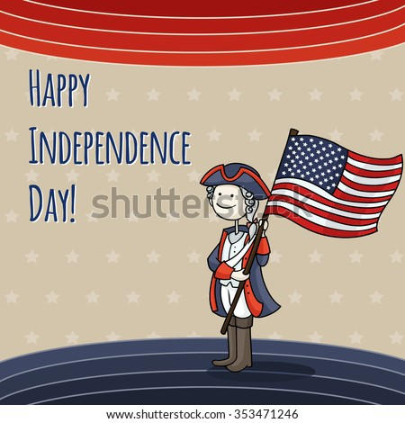 Patriotic USA background with Cartoon man celebrating Independence Day wearing a national costume and holding a flag. Cute american patriot boy in a 4th of July dressed like soldier.  - stock photo