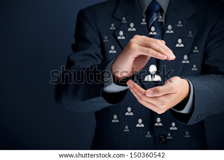 Patron, customer care, care for employees, life insurance and marketing segmentation concepts. Protecting gesture of businessman or personnel and icons representing group of people. - stock photo