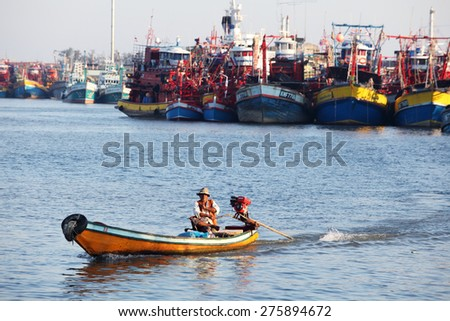 PATTANI, THAILAND -MAY 5:lifestyle of people at pattani fishery port,southern of thailand.MAY 5, 2015 pattani, THAILAND  - stock photo