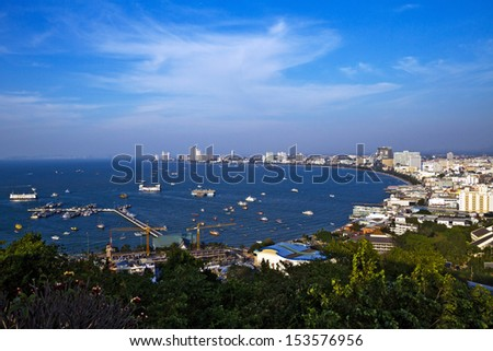 Pattaya beach and city bird eye view, Chonburi, Thailand. - stock photo