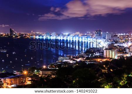 pattaya city at morning bird eye view - stock photo