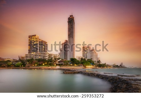 Pattaya City beach and Sea in Twilight, Thailand.