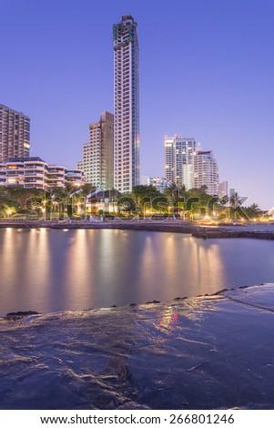 Pattaya City beach and Sea in Twilight, Thailand - stock photo