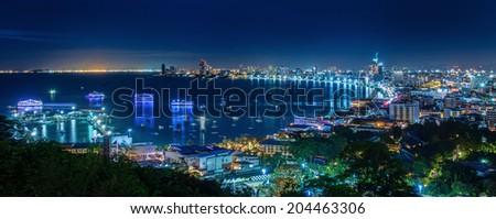 Pattaya City beach and Sea in urban night, Thailand - stock photo