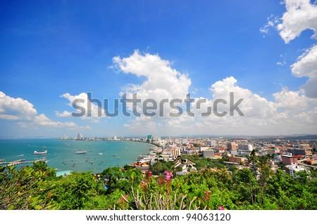 Pattaya city bird eye view, Chonburi, Thailand. - stock photo