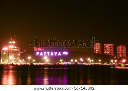 Pattaya city harbor at twilight, Thailand  - stock photo