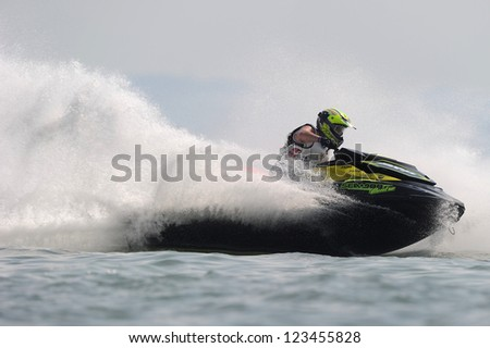 PATTAYA CITY THAILAND-DECEMBER 8:James Bushell of England in action during moto2 class Pro Runabout Open the Jetski  King's Cup World Cup Grand Prix at Jomtien Beach on Dec8, 2012 in ,Thailand.