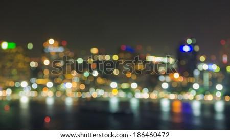 Pattaya cityscape at night time, Blurred Photo bokeh - stock photo