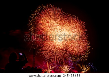 Pattaya International Fireworks Festival 2015,  thailand- colorful firework on the sea (pattaya bay)  for celebration happy time