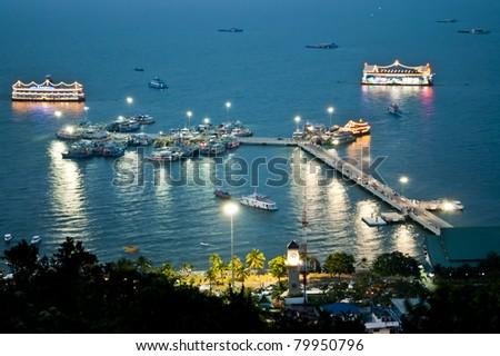 Pattaya Nightscape Viewpoint - stock photo