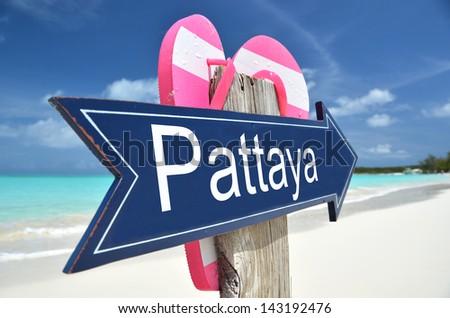 Pattaya sign on the beach - stock photo