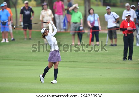 PATTAYA, THAILAND: Ai Miyazato of Japan plays a shot during day one of the Honda LPGA Thailand 2015 at Siam Country Club, Pattaya on Feb 26,2015 in Thailand. - stock photo