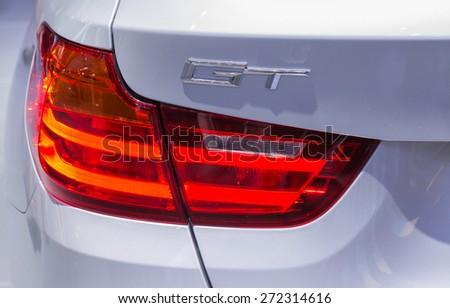 PATTAYA,THAILAND - APRIL 19 : The modern back lamps of new BMW in April 19, 2015 in Pattaya,Thailand  - stock photo