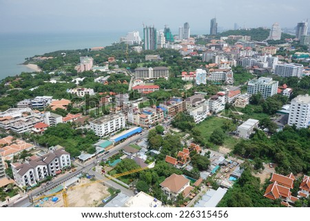 Pattaya, Thailand bird eye view - stock photo
