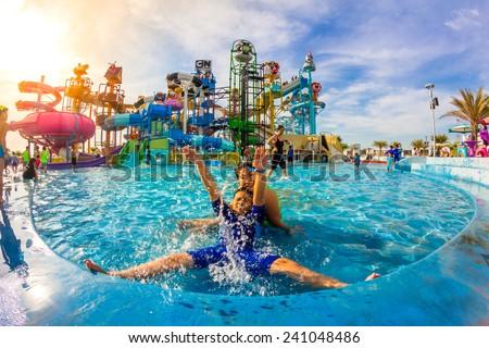 PATTAYA, THAILAND - December 29, 2014: Many traveler have fun in Cartoon Network Amazone Water Park, New Destination of Activity on December 29, 2014 in Pattaya Thailand. - stock photo