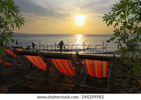 Pattaya, Thailand - December 21: seaside holiday on the beach December 21, 2014 in Pattaya, Thailand. - stock photo