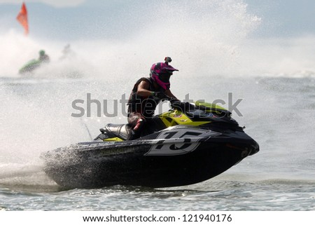 PATTAYA, THAILAND - DECEMBER 7 : Unidentified driver number 15 in the race of Jet Ski World Cup Grandprix 2012 on December 07, 2012 in Jomthein beach Pattaya, Thailand