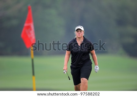PATTAYA, THAILAND-FEB 17: Carloline HedWall of the Sweden walks towards during hole17 the first round day two of Honda LPGA 2012 on February 17, 2012 at Siam Country Club Old Course in Pattaya, Thailand