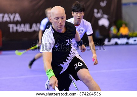 PATTAYA,THAILAND FEB5:nystrom henrik of New Zealand in action during the Men's World Floorball Championships Qualifications 2016 between Korea vs New Zealand on February5,2016 in Thailand