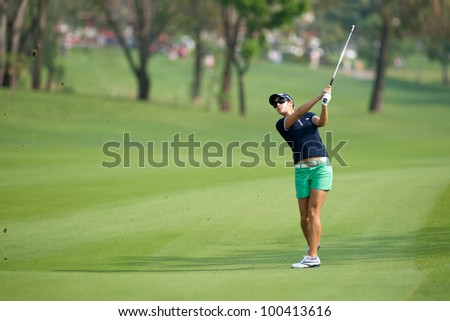 PATTAYA, THAILAND-FEBRUARY 16: Azahara Munoz of Spain in action during Round 1 of Honda LPGA 2012 on February 16, 2012 at Siam Country Club Old Course in Pattaya, Thailand