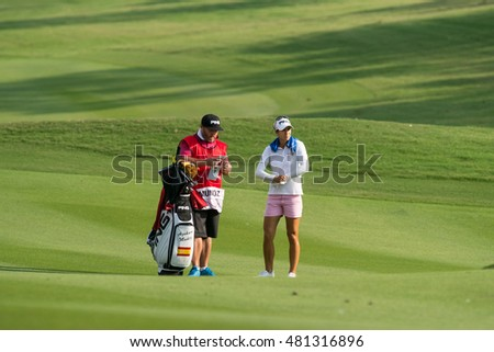 PATTAYA, THAILAND-FEBRUARY 20: Azahara Munoz of Spain prepares for next move during Round 3 of Honda LPGA Thailand 2015 on February 20, 2015 at Siam Country Club Old Course in Pattaya, Thailand
