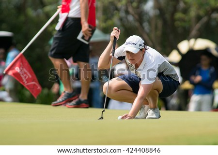 PATTAYA, THAILAND-FEBRUARY 20: Caroline Masson of Germany prepares for next move during Round 3 of Honda LPGA Thailand 2015 on February 20, 2015 at Siam Country Club Old Course in Pattaya, Thailand
