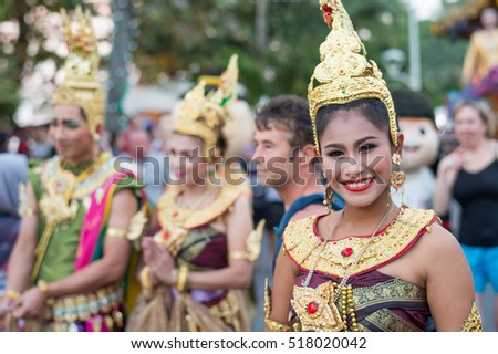 PATTAYA, THAILAND - FEBRUARY 25: Colorful street parade at Beach Road on February 25, 206 in Pattaya. Pattay is the busiest tourist destination in Thailand.