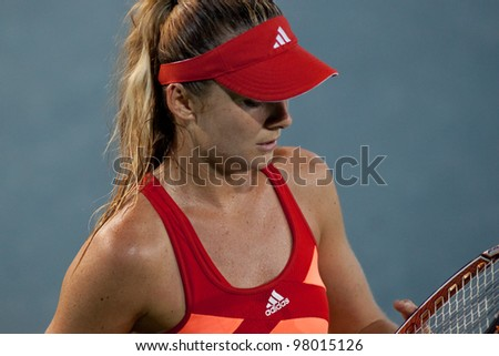 PATTAYA THAILAND - FEBRUARY 10: Daniela Hantuchova of Slovakia in action during Round 3 of PTT Pattaya Open 2012 on February 10, 2012 at Dusit Thani Hotel in Pattaya, Thailand - stock photo